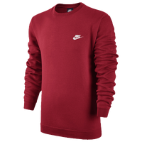 Nike Club Fleece Crew - Men's - Red / Red