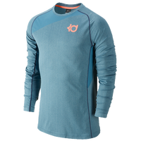 Nike KD Fearless L/S Top - Men's - Light Blue / Orange