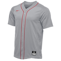 Nike Team Vapor Full Button Dinger Jersey - Men's - Grey / Red