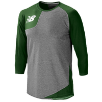 New Balance Asym Right Baseball Shirt - Men's - Grey / Dark Green