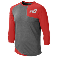 New Balance Asym Left Baseball Shirt - Men's - Red / Grey