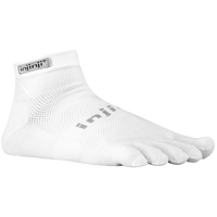Injinji Original Weight Mini-Crew Toe Socks - White / Grey