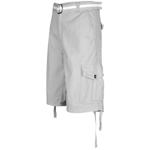 Southpole Belted Ripstop Cargo Shorts - Men's - Light Grey