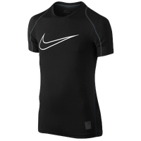 Nike Pro Hypercool Fitted S/S Top - Boys' Grade School - Black / White