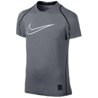 Nike Pro Hypercool Fitted S/S Top - Boys' Grade School - Grey / Black