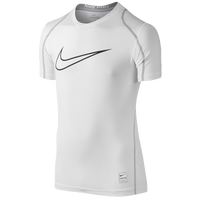 Nike Pro Hypercool Fitted S/S Top - Boys' Grade School - White / Grey