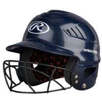 Rawlings Coolflo Batting Helmet w/Facemask - Women's - Navy / White