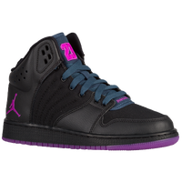 Jordan 1 Flight 4 - Girls' Grade School - Black / Purple