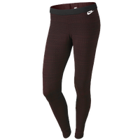 Nike Leg-A-See Printed Leggings - Women's - Maroon / Black