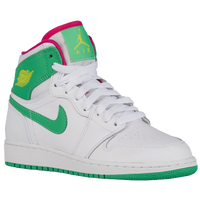 Jordan AJ 1 High - Girls' Grade School - White / Light Green