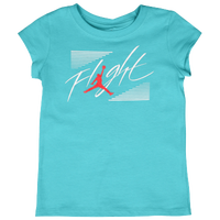 Jordan Flight T-Shirt - Girls' Preschool - Light Blue / Red