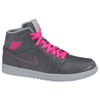 Jordan AJ 1 Mid - Girls' Preschool - Grey / PInk