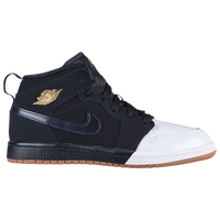 Jordan AJ 1 Mid - Girls' Preschool - Black / Gold