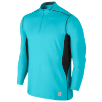 Nike Pro Combat Hyperwarm Max Fttd 1/4 Zip Top - Men's - Light Blue / Black