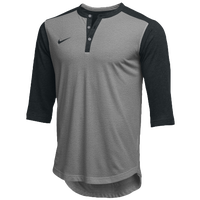 Nike Team 3/4 Sleeve Flux Henley - Men's - Grey / Black