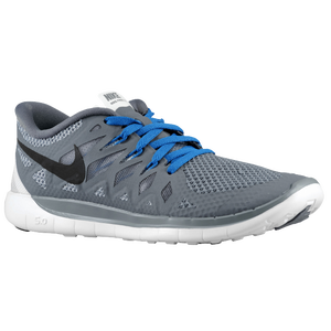 Nike Free 5.0 - Boys' Grade School - Cool Grey/Black/White/Military Blue