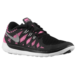 Nike Free 5.0 - Girls' Grade School - Black/Pink Glow/Metallic Silver