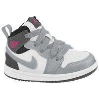 Jordan AJ 1 Mid - Girls' Toddler - White / Pink