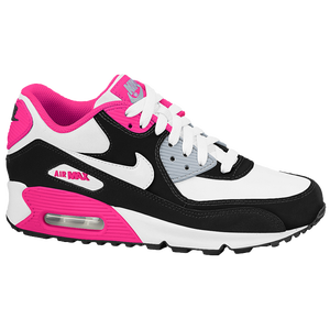Nike Air Max 90 - Girls' Grade School - White/Black/Hyper Pink/Metallic Silver