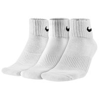 Nike 3 Pack Moisture MGT Cushion Quarter Socks - Men's - All White / White