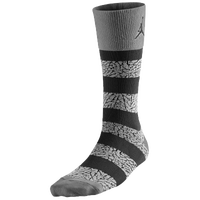Jordan Elephant Striped Crew Socks - Grey / Black