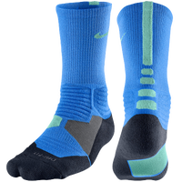Nike Hyper Elite Basketball Crew Socks - Men's - Light Blue / Light Green