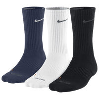 Nike 3PK Dri-FIT 1/2 Cushion Crew Socks - Men's - Navy / White