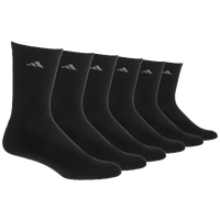 adidas Athletic 6-Pack Crew Socks - Men's - All Black / Black