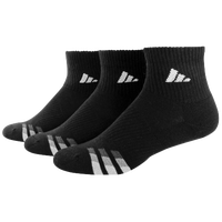 adidas 3-Stripe 3 Pack Quarter Socks - Men's - Black / White