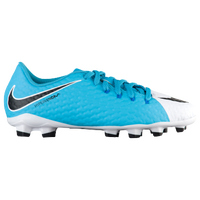 Nike Hypervenom Phinish III FG - Boys' Grade School - White / Light Blue