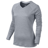 Nike Dri-FIT Wool V-Neck Top - Women's - Grey / Grey