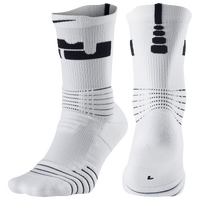 Nike LeBron Elite Versatility Crew Socks -  Lebron James - White / Black