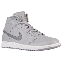 Jordan AJ1 Mid - Men's - Grey / White