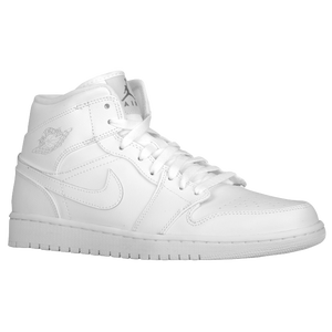 Jordan AJ1 Mid - Men's - White/White/Cool Grey