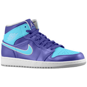 Jordan AJ1 Mid - Men's - Court Purple/Gamma Blue/Metallic Platinum