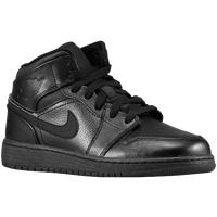 Jordan AJ1 Mid - Boys' Grade School - All Black / Black