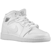 Jordan AJ1 Mid - Boys' Grade School - White / Grey