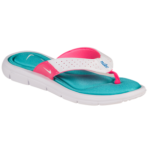 Nike Comfort Thong - Women's - White/Turquoise Blue/Pink Flash/White