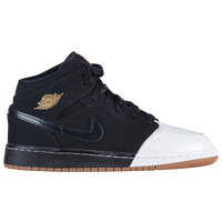 Jordan AJ 1 Mid - Girls' Grade School - Black / Gold