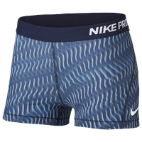 "Nike Pro Cool 3"" Compression Shorts - Women's - Navy / Light Blue"