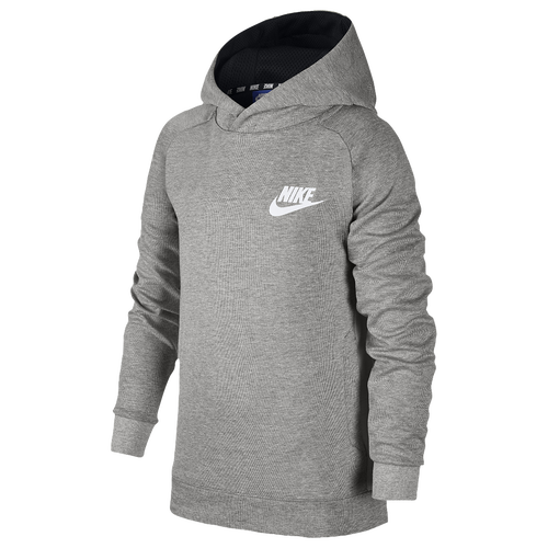 nike av15 pull over hoodie boys 39 grade school casual clothing dark grey heather black white. Black Bedroom Furniture Sets. Home Design Ideas