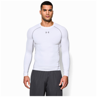 Under Armour Heatgear Armour Comp L/S T-Shirt - Men's - White / Grey
