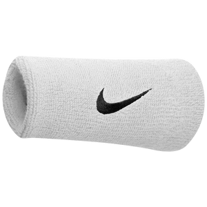 Nike Swoosh Doublewide Wristbands - Men's - White/Black