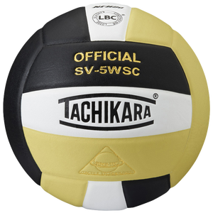 Tachikara SV-5WSC Volleyball - Black/White/Vintage Gold