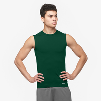 Eastbay EVAPOR Sleeveless Compression Crew - Men's - Dark Green / Dark Green