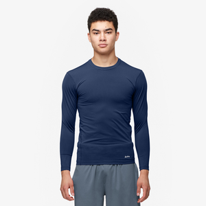 Eastbay EVAPOR Long Sleeve Compression Crew - Men's - Blue-Navy