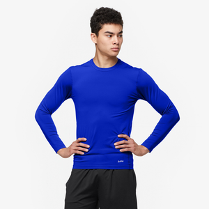 Eastbay EVAPOR Long Sleeve Compression Crew - Men's - Blue-Royal