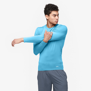 Eastbay EVAPOR Long Sleeve Compression Crew - Men's - Blue-Columbia Blue