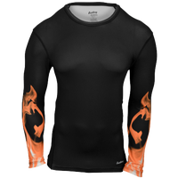 Eastbay EVAPOR Long Sleeve Compression Crew - Men's - Black / Orange