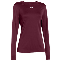 Under Armour Team Locker Long Sleeve T-Shirt - Women's - Maroon / Silver